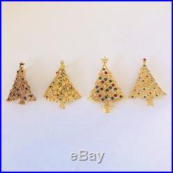 40 Pc Vintage Christmas Tree Rhinestone Brooch Jewelry Book Piece Quality Signed