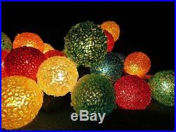40 Vintage Ice Lights Xmas Tree Lighted Frosted Snowball Sugar Lite With Ge Cord