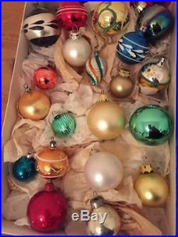 40 Vtg Glass Christmas Tree Baubles Decorations 1950s-70s Red Green Gold Silver