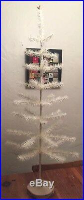 42 Goose Feather Christmas Tree White Ivory Birch Base Vintage German Style