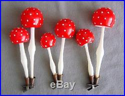 5 Tall Vintage German Glass Christmas Tree Ornaments Clip On Double Mushrooms