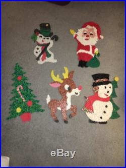 5 Vintage Melted Plastic Popcorn Christmas Decoration Santa Rudolph Snowman Tree