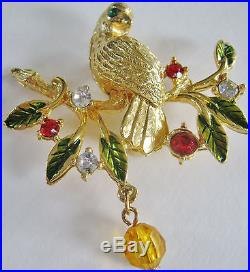 5 Vintage Partridge In Pear Tree Christmas Tree Pins Lianna Plastic Kirks Folly