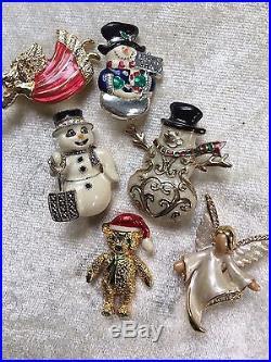 50 Vintage Now Christmas Brooch Rhinestone Enamel Tree Santa Reindeer Wreath Lot