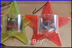 50's Vintage Christmas Tree Twinklers Star Spinner Set 4 w Box Tinkle Toy Co