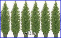 6 CEDAR OUTDOOR TREE 7ft TOPIARY PLANT ARTIFICIAL BUSH POOL PATIO CYPRESS PINE