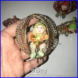 6 Vintage Elf Pixie Gnomes Christmas Tree Ornaments CHENILLE ALUMINUM Mesh Frame