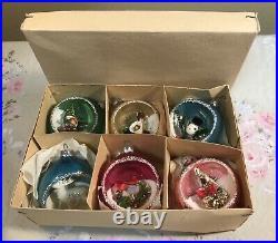 6 Vintage Glass DIORAMA Shiny Brite Japan Christmas Tree Ornaments Rare