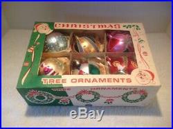 6 Vtg Jumbo Blown Glass Christmas Tree Mica Ornaments Poland Balls Teardrop Nice