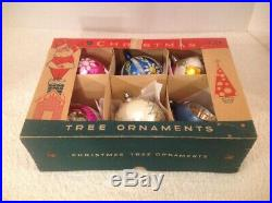 6 Vtg Large Blown Glass Christmas Tree Mica Ornaments Poland Balls Tear Indent