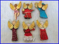 6x Vintage Christmas Tree Decorations Angel Cherub Putti Embroidered Fabric Lot