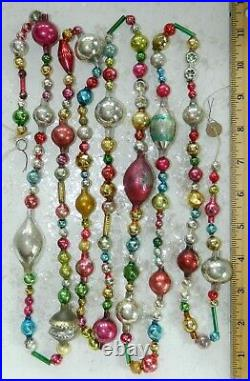 7 FT 100% Vintage Mercury Glass Christmas Garland Big Beads Antique Feather Tree