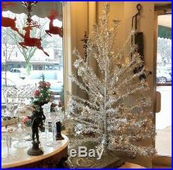 7 Foot Vintage 1950s Sparkler Pom Pom Aluminum Silver Christmas Tree Glass Balls