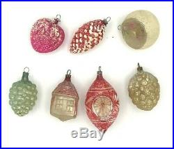 7 Very OLD Vintage Antique Glass Christmas Tree Ornaments Fragile German 1010