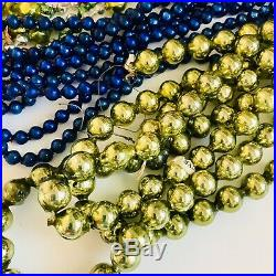 7 Vtg Mercury Glass Garland Beads Double Indent Patriotic Feather Tree Japan Lot