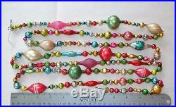 7 + ft Vintage Mercury Glass Bead Christmas Garland Feather Tree Antique
