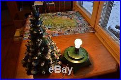 76' holland mold Vintage green Ceramic Lighted Christmas Tree 21 Tall Flocked