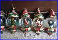 8 Boxed Kirkland Vintage Glass Snow Globe Christmas Tree Decorationsl@@k