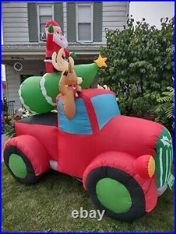 8' Santa Christmas Tree Vtg Red Truck Airblown Inflatable Holiday Time