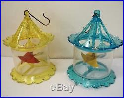 8 VINTAGE Spinners Twinklers Birdcage Stars Christmas Tree Ornaments Pink Yellow