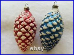 8 Vintage Mercury Glass Pinecone Christmas Tree Ornaments JAPAN 1940s 1950s