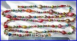 8 + ft Vintage Mercury Glass Bead Christmas Garland Feather Tree Antique