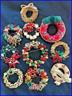85 Vintage Christmas Brooch Lot Rhinestone Enamel Tree Wreath + Eisenberg ART JJ