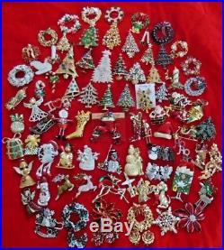 86 Pc Vintage Modern COSTUME ESTATE JEWELRY CHRISTMAS Tree BROOCH Earrings Lot