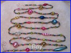 9' Antique Vtg Easter Pastel Bead Mercury Glass Xmas Feather Tree Garland #2