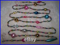 9' Antique Vtg Easter Pastel Bead Mercury Glass Xmas Feather Tree Garland #2
