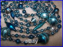 9' Antique Vtg SIlver Blue Shape Bead Mercury Glass Xmas Feather Tree Garland