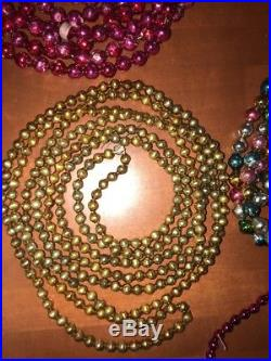 9 Vintage Antique Colored Mercury Glass Bead Garland Feather Tree Christmas