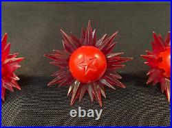 9 Vintage Paramount Star Light Sputnik C6 Bulbs Christmas Tree Red Green Yellow