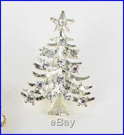 9 pc lot collection vtg Christmas tree Pins Rhinestone Ron Weiss Eisenberg Ice