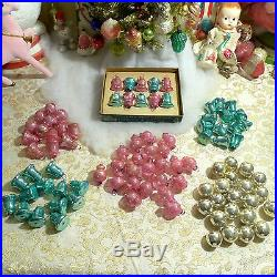94 VTG Shiny Brite PINK Teal Silver Glass Mini Feather Tree Xmas Ornaments BELLS