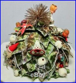 ADOLFO 2 ii CHRISTMAS TREE THEME HAT 1960'S SIGNED VINTAGE