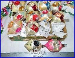 ANTIQUE Vintage FEATHER TREE Glass Christmas Ornaments RARE QUAD INDENTS
