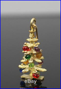 Adorable Vintage Multicolored Beads Christmas Tree Solid 14k Yellow Gold Charm