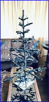 Amazing Vintage German Czech Chenille Christmas Tree Feather Hand Beaded