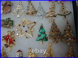 Amazing Vintage Lot 52 Rhinestone Signed Christmas Pins Brooches Trees Bells