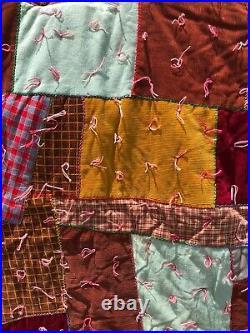 Antique BOHO Crazy Quilt Patchwork Quilt 1970s Vintage XMAS Tree Skirt