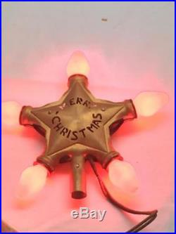 Antique NOMA Electric Christmas STAR Tree Topper Vintage Box 20's WORKS Metal