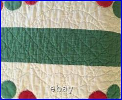 Antique Quilt, Christmas Trees, Red and Green #17835