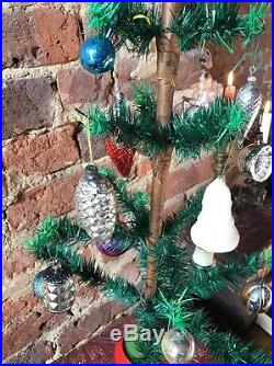 Antique Vintage 26 Tall Goose Feather Christmas Tree & 16 Decorations