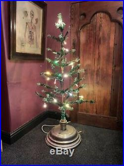Antique Vintage 44 Goose Feather Christmas Tree Electric Rotating Musical Stand