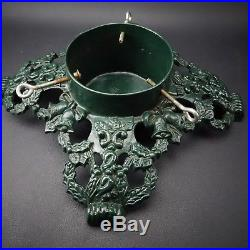 Antique Vintage Cast Iron Green Holly Leafs and Bells Christmas Tree Stand