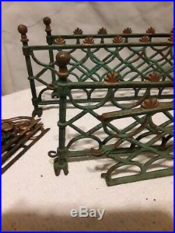 Antique Vintage Cast Iron Victorian Christmas Tree Fencing Fence 19 Sections