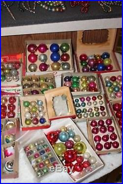 Antique Vintage Christmas Feather Tree Mercury Glass Ornaments Garland Picks