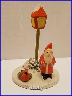 Antique/Vintage Composition Santa with Tree, Lamp Post. Made in Germany