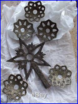 Antique Vintage Feather Christmas Tree Topper & Reflectors Black Mica Cardboard